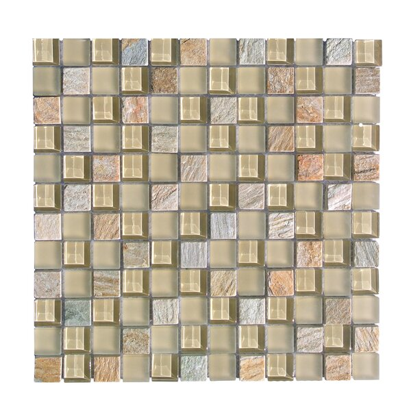 Mineral 1 x 1 Glass and Slate Mosaic Tile in Golden by Abolos