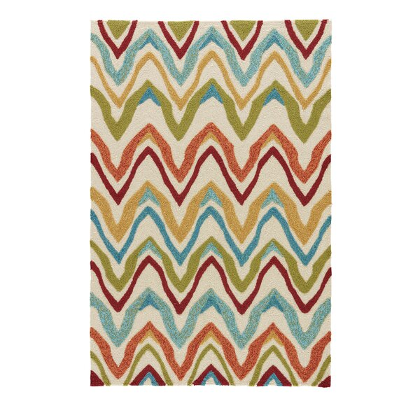One-of-a-Kind Richardson Hand-Hooked Burnt Orange/Cyan Blue Outdoor Area Rug by Zipcode Design