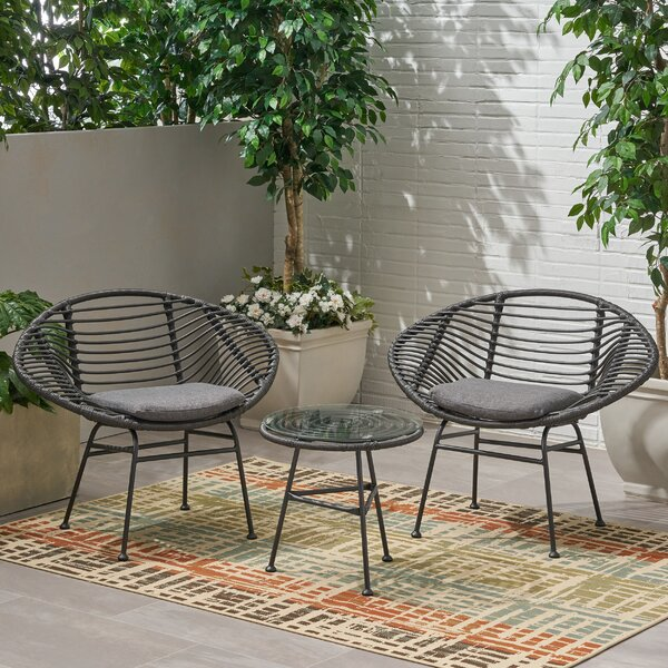 Grunewald 3 Piece Rattan Seating Group with Cushions by Bay Isle Home