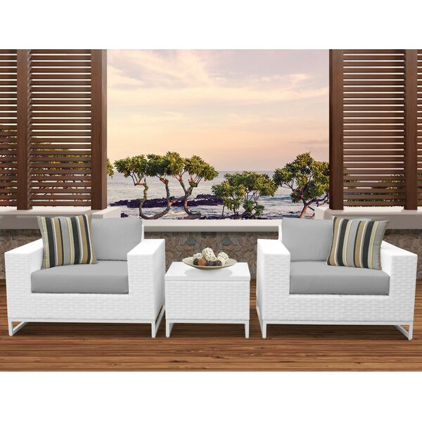 Miami 3 Piece Conversation Set with Cushions by TK Classics