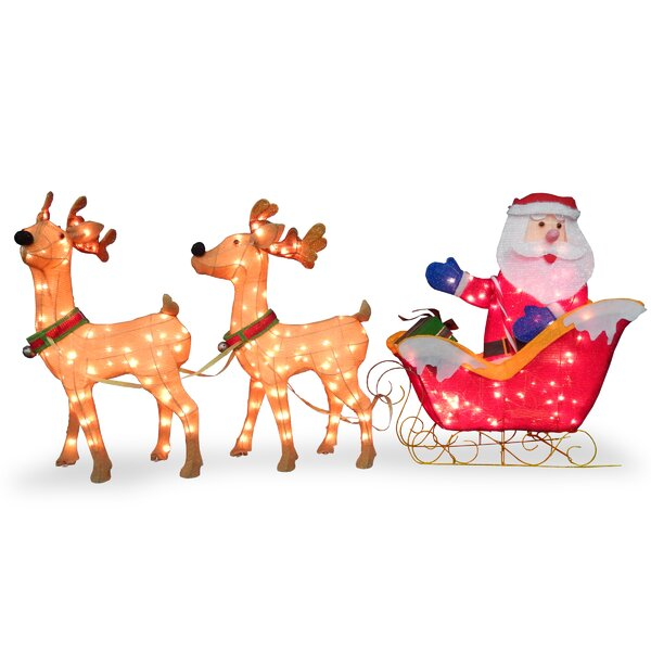 Santa with 2 Deer Sleigh Christmas Decoration by The Holiday Aisle