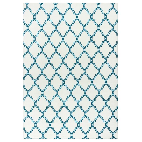Noblesville White/Aqua Indoor/Outdoor Area Rug by Charlton Home