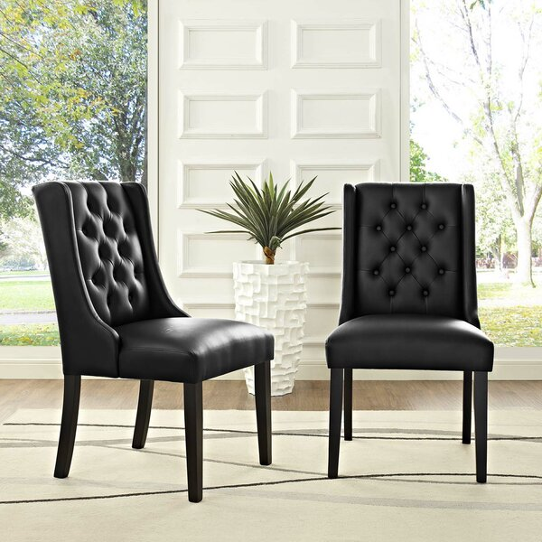Tufted Vinyl Upholstered Solid Wood Persons Chair in Black (Set of 2) by Alcott Hill Alcott Hill