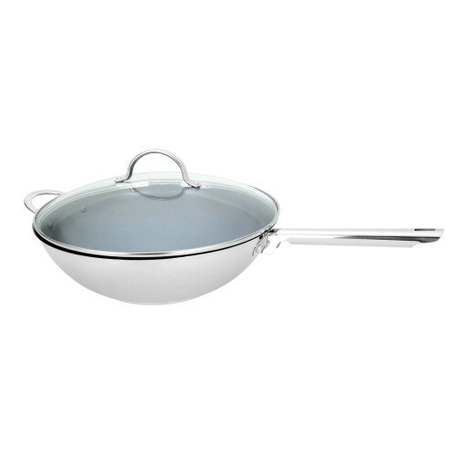 Sabine Pro Ceramic Non-Stick Wok with Lid by Symple Stuff