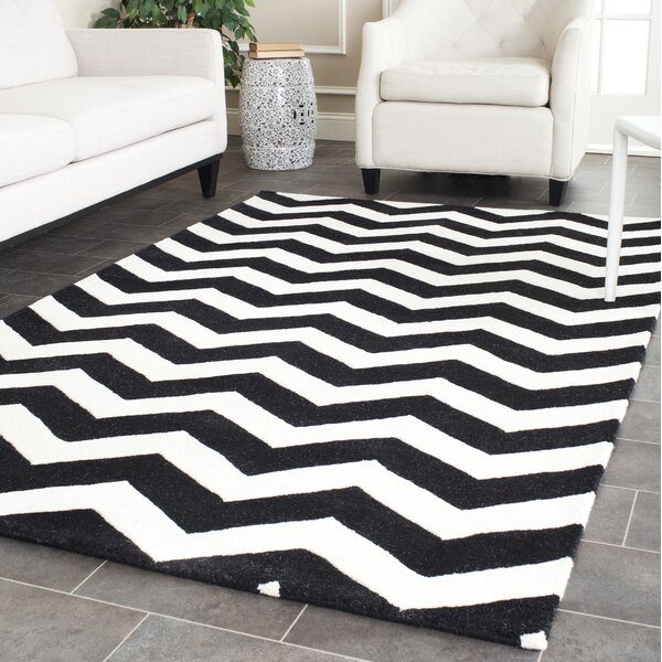 One-of-Kind Wilkin Chevron Hand-Tufted Wool Ivory/Black Area Rug by Wrought Studio