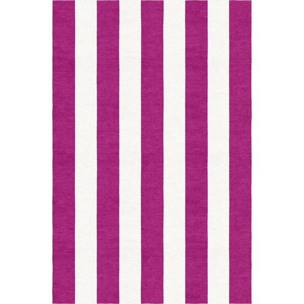 Burnell Hand-Woven Wool Magenta/White Area Rug by Longshore Tides