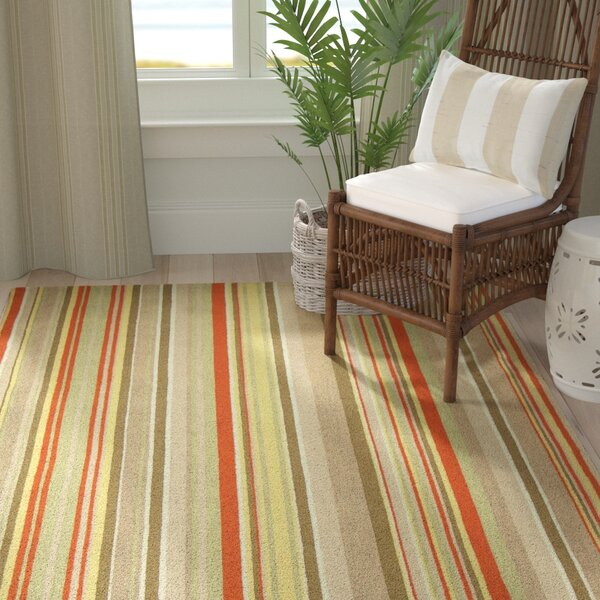 Atilia Red Striped Area Rug by Highland Dunes