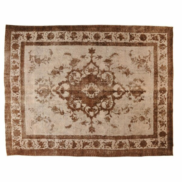 One-of-a-Kind Hand-Knotted Brown/Beige 9'6 x 12'6 Wool Area Rug