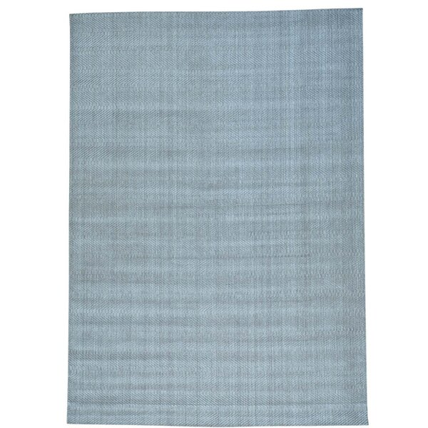 Tone on Tone Oriental Hand-Knotted Silk Gray Area Rug by Bloomsbury Market