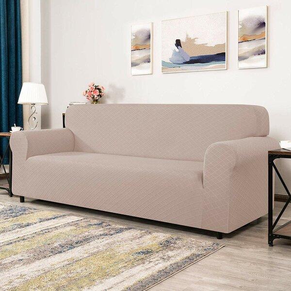 4-Seats Polyester And Spandex Rhombus Jacquard Box Cushion Sofa Slipcover By Winston Porter