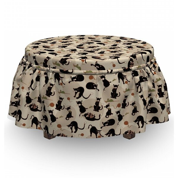 Cat House Pet Playing 2 Piece Box Cushion Ottoman Slipcover Set By East Urban Home