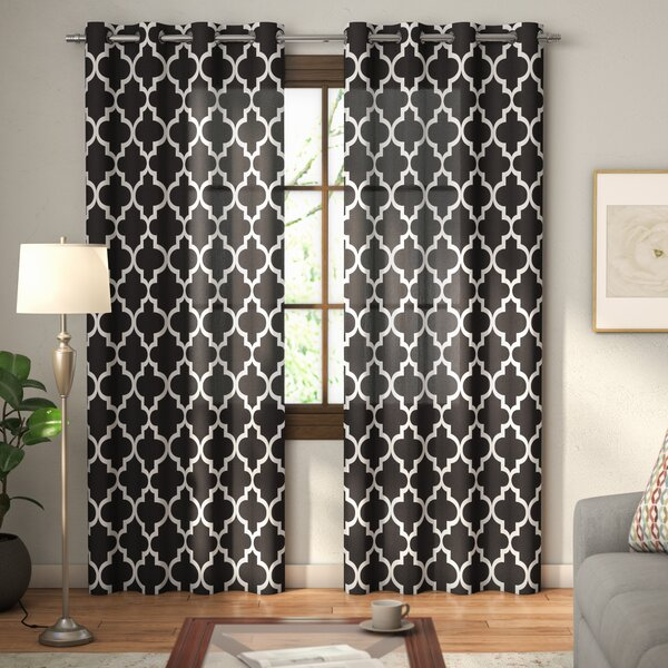 Sneed Damask Sheer Thermal Grommet Curtain Panels (Set of 2) by Andover Mills