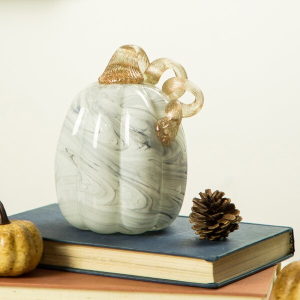 Marble Glass Pumpkin by The Holiday Aisle