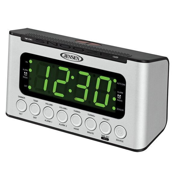 AM/FM Dual Radio with Wave Sensor Tabletop Clock by Jensen