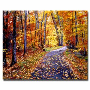 Leaf Covered Road by David Lloyd Glover Painting Print on Wrapped Canvas by Trademark Fine Art