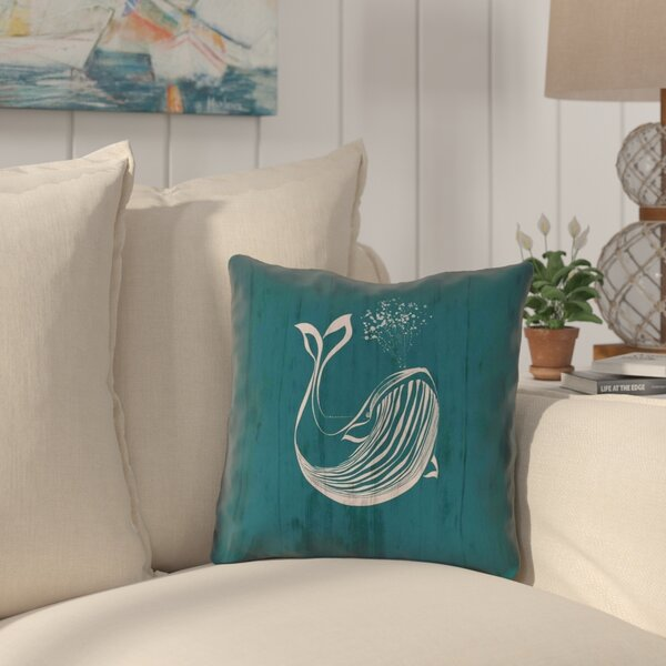 Lauryn Rustic Whale Outdoor Throw Pillow