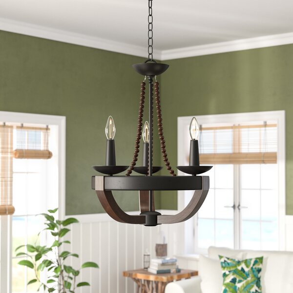 Craftsbury 3-Light Wagon Wheel Chandelier by Bay Isle Home