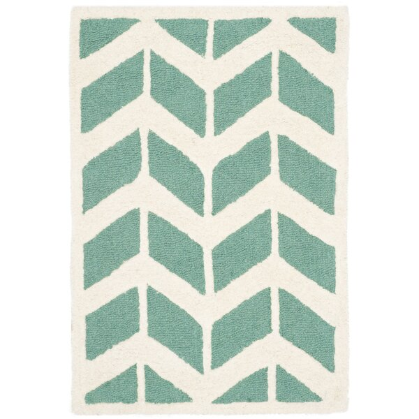 Martins Teal/Ivory Area Rug by Wrought Studio