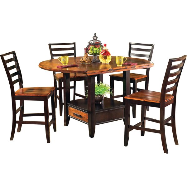 Hidalgo 5 Piece Counter Height Drop Leaf Solid Wood Dining Set by Millwood Pines Millwood Pines