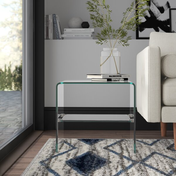 Lightle Glass Top Sled End Table With Storage By Mercury Row