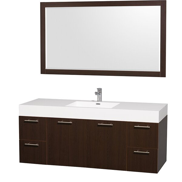 Amare 60 Single Espresso Bathroom Vanity Set with Mirror by Wyndham Collection