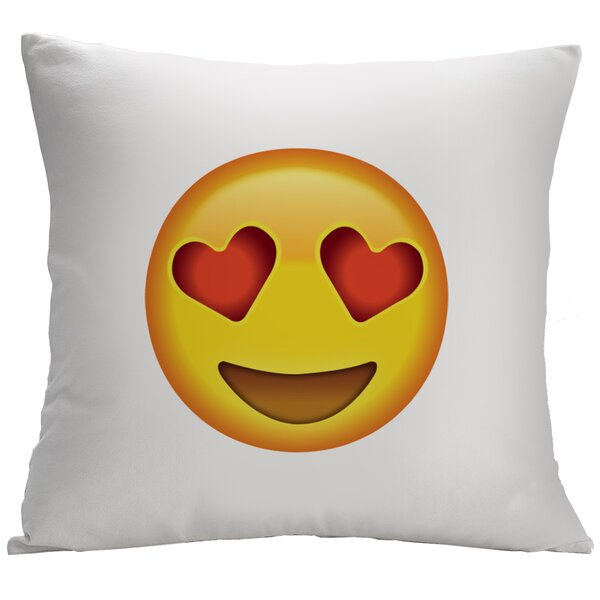 Heart-Shaped Eyes Emoji Decorative Cushion Cover by Monogramonline Inc.