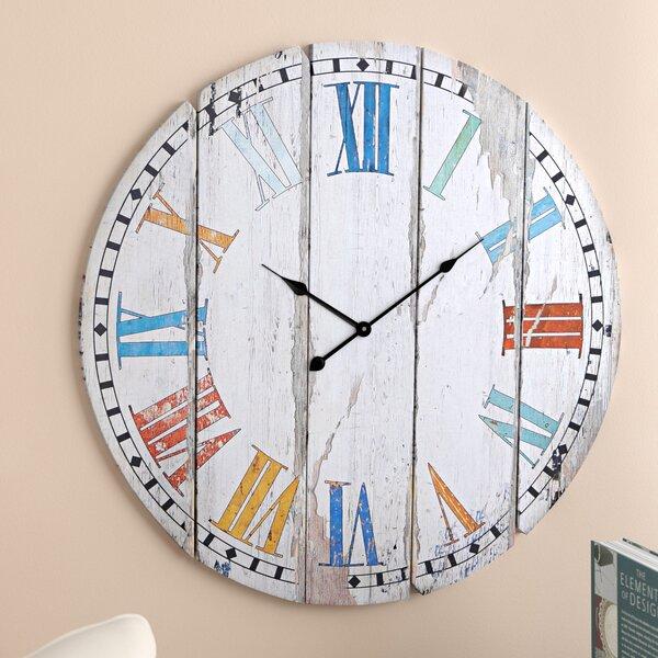 Oversized Psimolofou 23 Wood Colorful Slats Wall Clock by Beachcrest Home