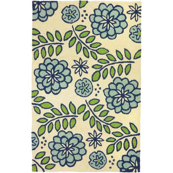 Janke Marigolds Hand-Hooked Beige/Blue Indoor/Outdoor Area Rug by Winston Porter