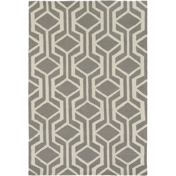 Younkin Hand-Crafted Gray/White Area Rug by George Oliver