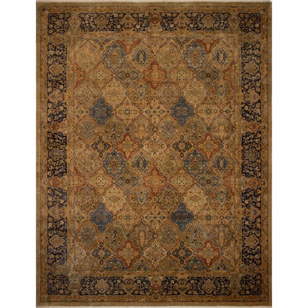 Branner Hand-Knotted Wool Brown/Blue Area Rug by World Menagerie