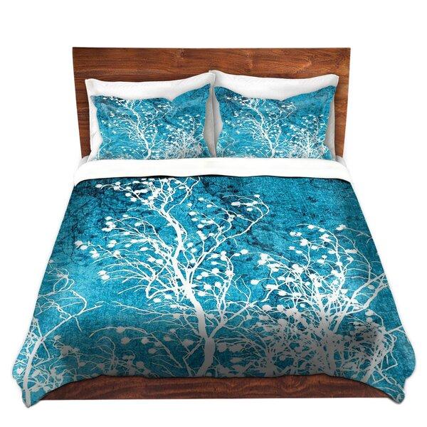 Sleeper Iris Lehnhardt Silhouettes Cyan Microfiber Duvet Covers by Ebern Designs