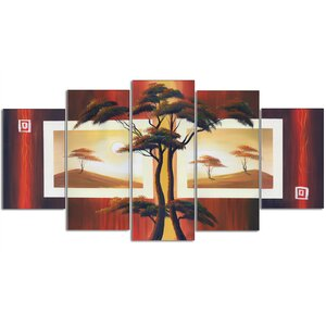 African Tree Landscape 5 Piece Photographic Print on Wrapped Canvas Set by Design Art