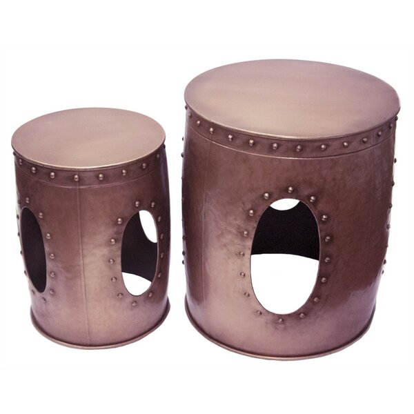Ceniceros Metal Barrel 2 Piece Nesting Tables by 17 Stories