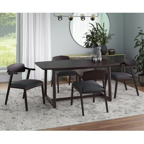 Umstead 5 - Piece Rubberwood Solid Wood Dining Set by George Oliver George Oliver