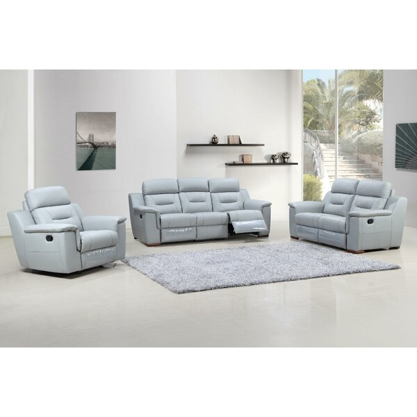 Air Reclining 3 Piece Leather Living Room By Red Barrel Studio
