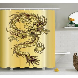 Great Price Ourir Dragon Chinese Snake Dragon Theme Print on Golden Eastern Mythology Oriental Abstract Art Shower Curtain ByWorld Menagerie