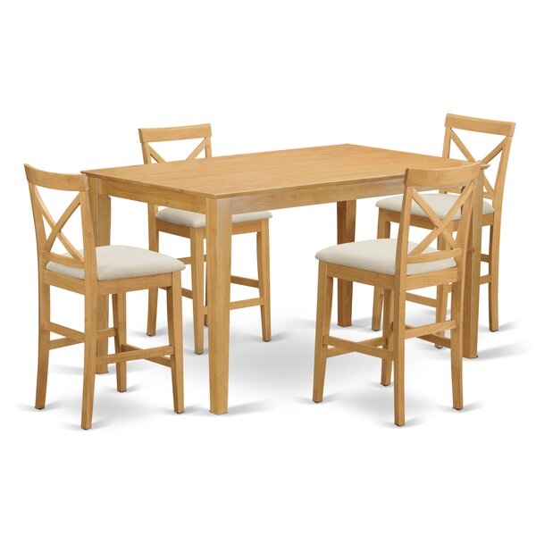 Smyrna 5 Piece Counter Height Pub Table Set by Charlton Home