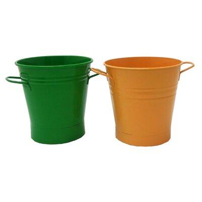 Enameled French Pail Steel Bucket Winston Porter Color: AppleGreen-Saffron