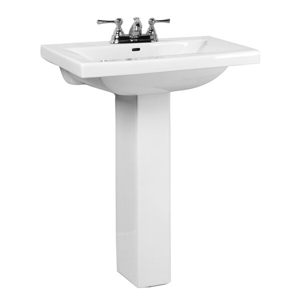 Mistral Lavatory Vitreous China Pedestal Bathroom Sink with Overflow by Barclay