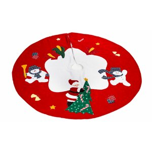 Santa and Frosty Friends Christmas Tree Skirt