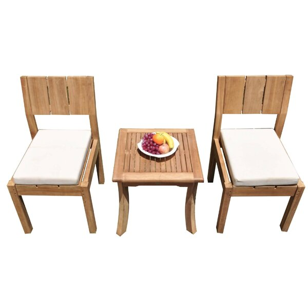 Meda 3 Piece Teak Bistro Set by Rosecliff Heights