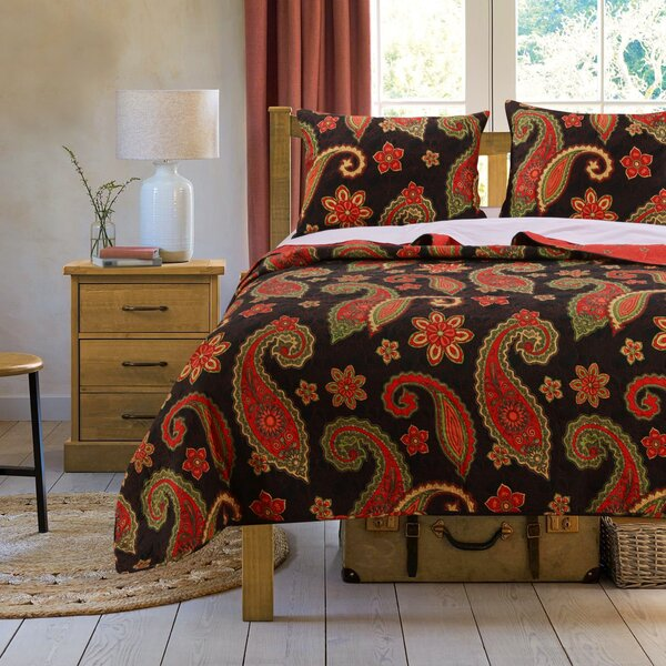 Midnight Paisley Reversible Quilt Set by Greenland Home Fashions