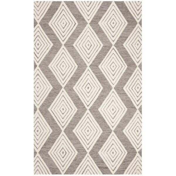 Pizano Hand-Woven Wool Dark Gray/Ivory Area Rug by Wrought Studio