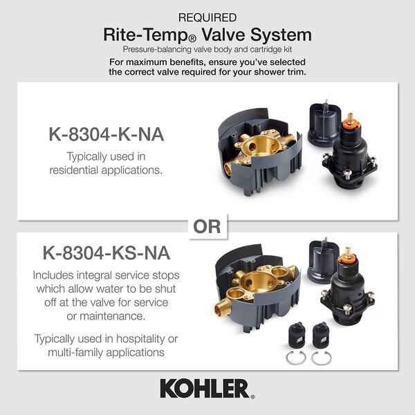 Kohler Refinia Rite-Temp Bath and Shower Trim Set Valve Not Included by Kohler Kohler