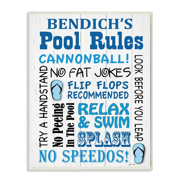 Personalized Pool Rules Cannonball! by Janet White with Sandals Textual Art Plaque by Stupell Industries