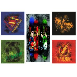 Justice League 5 Piece Graphic Art on Canvas Set by Modern Littles