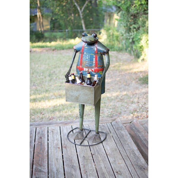 Morua Recycled Metal Standing Frog Beverage Tub by