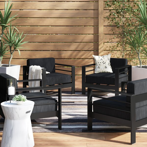 Royalston Contemporary Aluminum Chair with Cushions (Set of 4) by Brayden Studio Brayden Studio