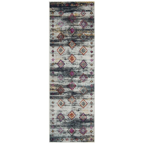 Muniz Light Gray/Red Area Rug by Union Rustic