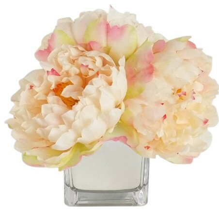 Artificial Silk Penoy Floral Arrangements in Decorative Vase by RG Style
